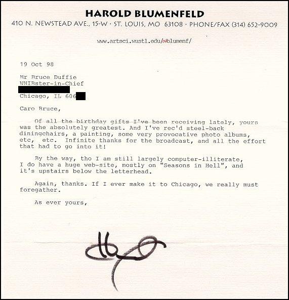 Harold Blumenfeld Interview With Bruce Duffie